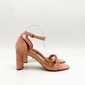 COACH Peony Link Suede Sandals Heels Pink